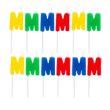 67 12 Pack Letter M Birthday Candles Bulk Party Supplies Cake Topper Shapes