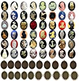 40pc Cameo Arts Crafts Mixed Jewelry Making Kit Metal Blank Frame Unset Handmade Cabochon 40x30mm