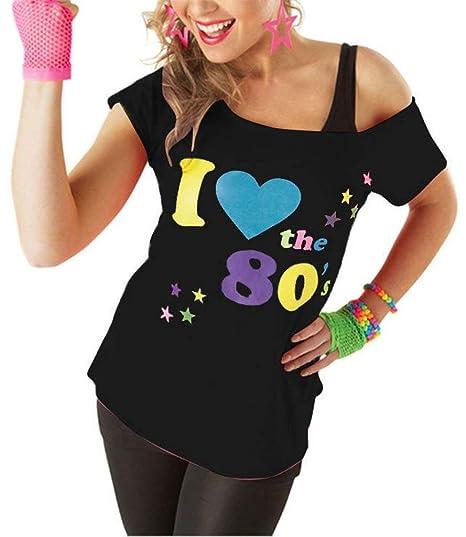 Classy Fashion Mujeres Amo la Camiseta de los Años 80 Top Ladies I Love 80s Vestido de Lujo Hen Night Stag Do Parties Tees Top Ropa de Fiesta de los Años ...