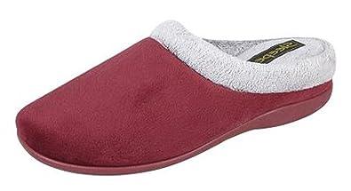Womens Ladies Red MEMORY FOAM Mule Slippers Size UK 3 - 8 OUTDOOR SOLE (3