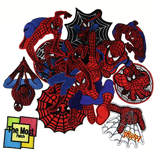 Lot of 12 (11+1) SpiderMan Superhero Web Cartonn Movie Logo Embroidered Iron / Sew On Patch