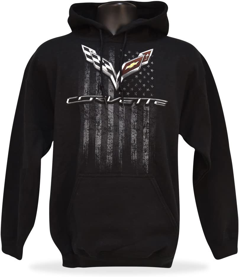 X-Large West Coast Corvette C7 Corvette Mens American Legacy Hooded Sweatshirt Black