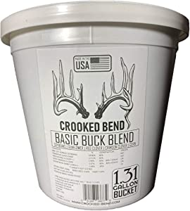 Crooked Bend Basic Buck Blend | 8lb Food Plot Seed Mix | Soy Beans Peredovik Sunflowers Sugar Buns Corn Red Clover Crimson Clover Mix | for Whitetail Deer and Other Wildlife