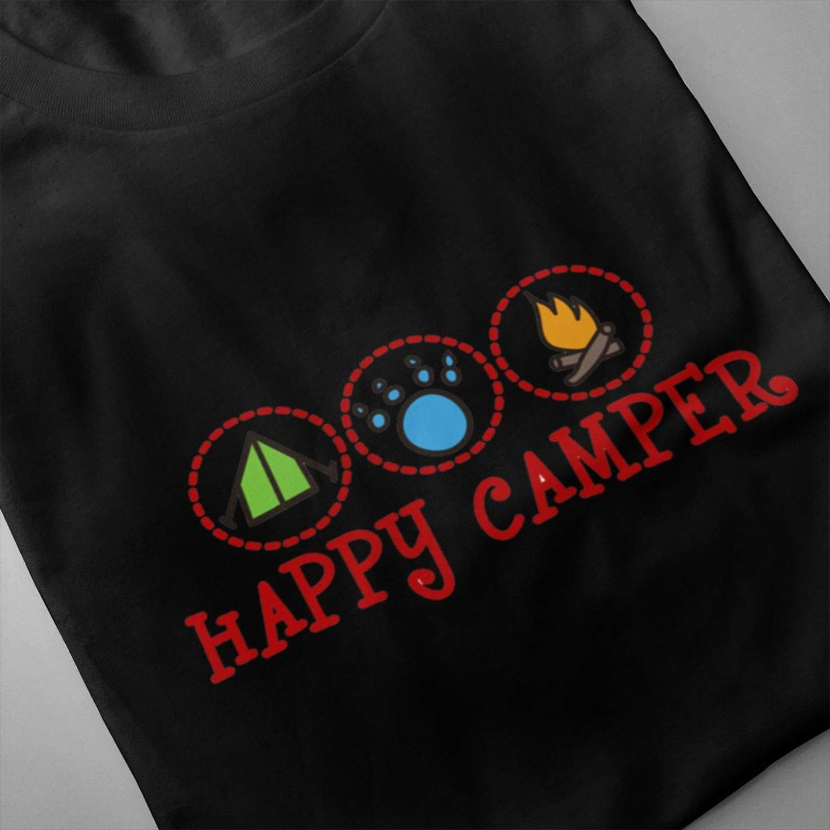 Luxendary Mens Logo Happy-Glamper Humor Hiking Round Neck Short Sleeve Tee