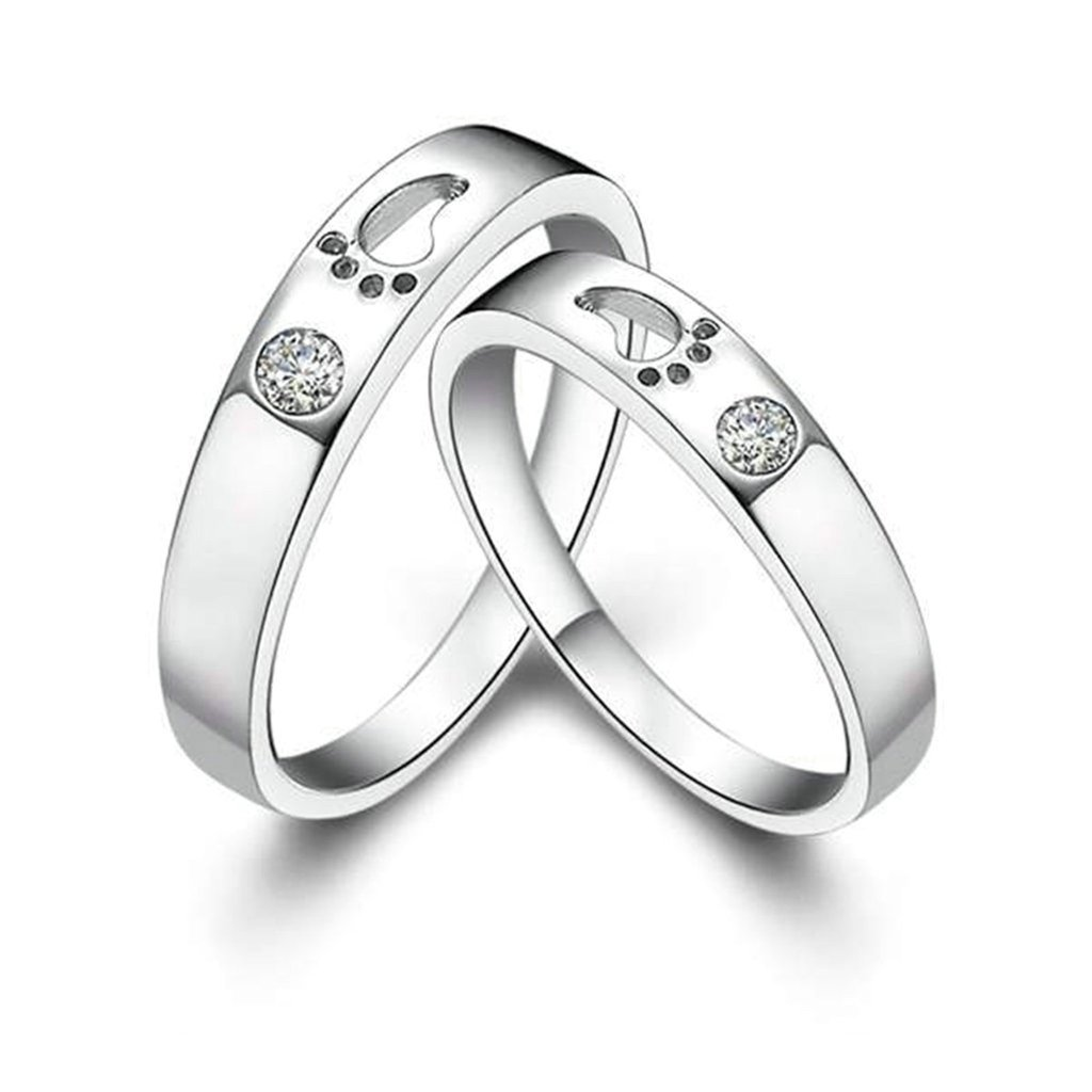 Gnzoe Jewelry Silver Wedding Ring Band Cubic Zirconia Rings Footprint Pattern For His 3mm Size 9