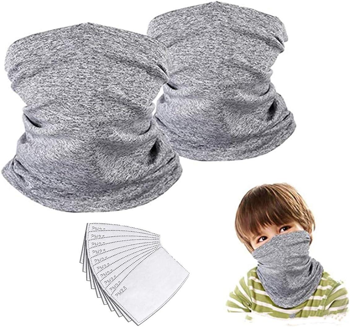 KidsNeckGaiterFaceMaskBandanawithFilterTubeScarfBalaclavaFaceCoverforBoysGirlsOutdoorSport(Grey2PackChild): Clothing