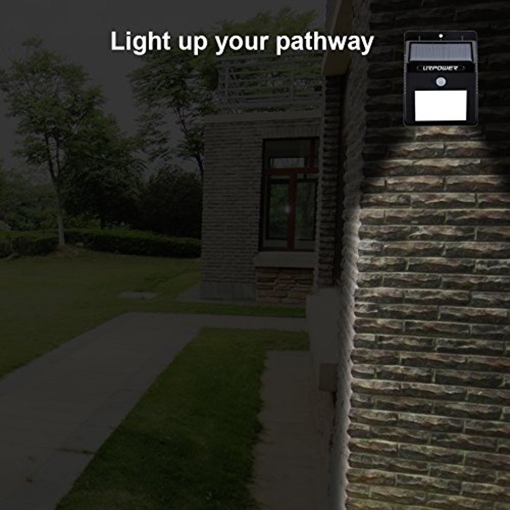 URPOWER Solar Lights 8 LED Wireless Waterproof Motion Sensor Outdoor Light for Patio, Deck, Yard, Garden with Motion Activated Auto On/Off (4-Pack) by URPOWER (Image #6)