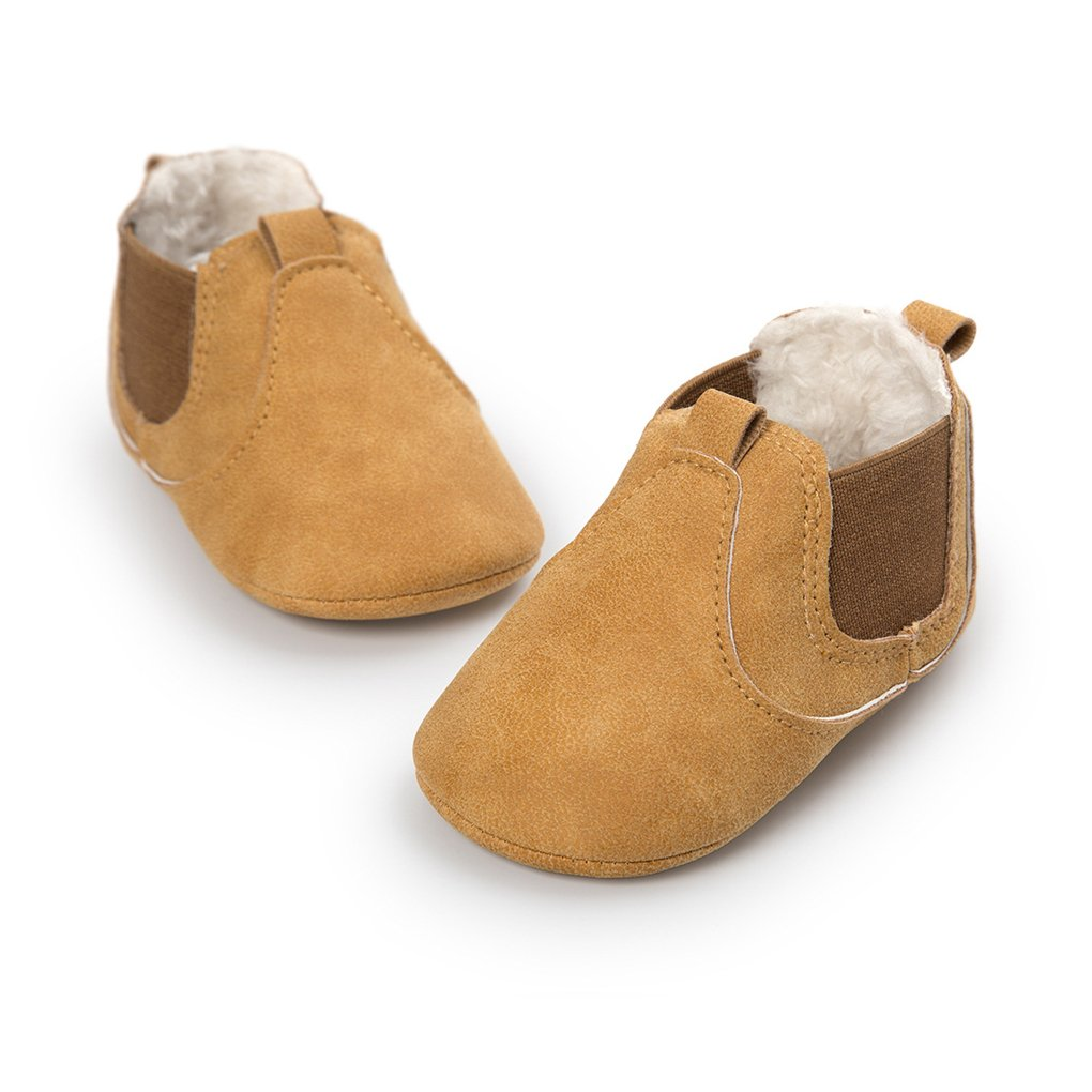 Baby Girls Plush Chelsea Boots Ankle Snow Booties Soft Sole Pull-On Crib Shoes