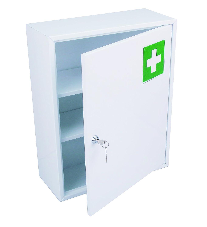 HEXOTOL Medizinschrank mit Tür, Stahl, weiß, 36 x 15 x 45 cm