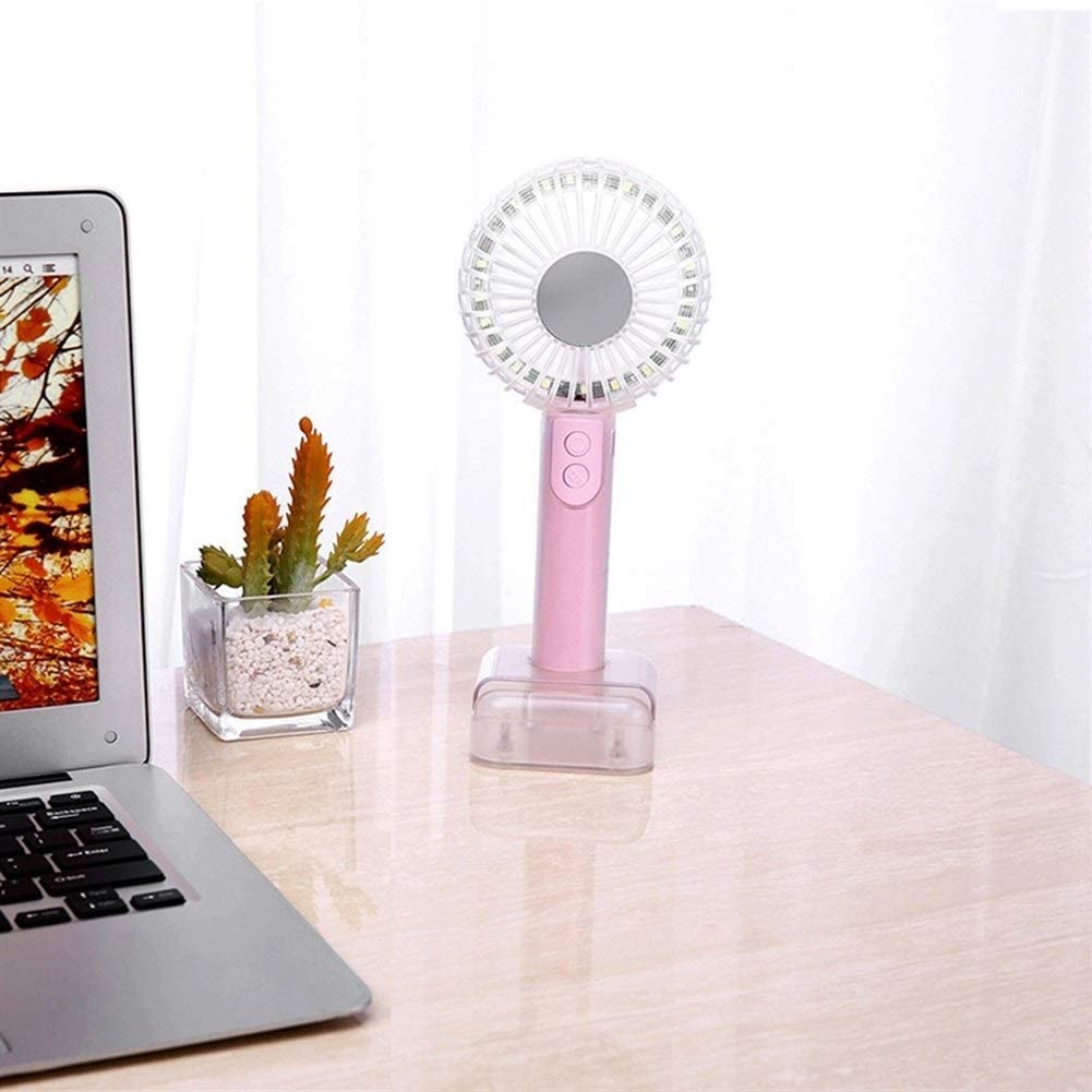 Color : Pink Fan Multi-Functional LED Fan USB Rechargeable with Phone Stand Mini Makeup Mirror Portable Handheld Cooling Fan Mini Portable Cooling Fan