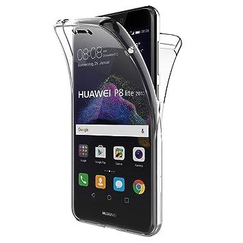 Mb Accesorios Funda Carcasa Gel Transparente Doble 360º para Huawei P8 Lite 2017 / P9 Lite 2017, Ultra Fina 0,33mm, Silicona TPU de Alta Resistencia y ...