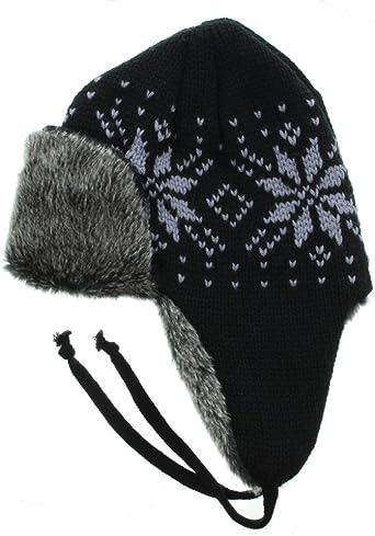 Snowflake Pattern Fur Trapper Aviator Hat