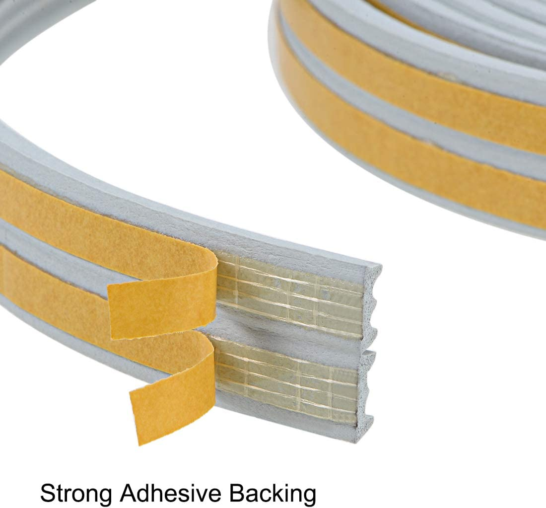 uxcell Foam Seal Strip Adhesive Tape 9mm Width 4mm Thick 3 Meters Long Gray 3Pcs