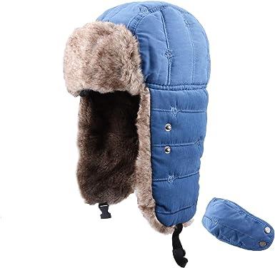Botreelife Chapeau de trappeur chaud hiver unisexe housse de protection int/égrale amovible coupe-vent chapeau de Trooper casquette de aviateur pour cyclisme Camping Bleu