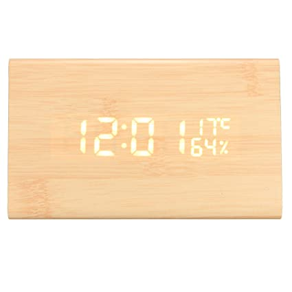 Kopper™ USB Voice Control Wooden Wooden Triangle Temperature LED Digital Alarm Clock Humidity Thermometer