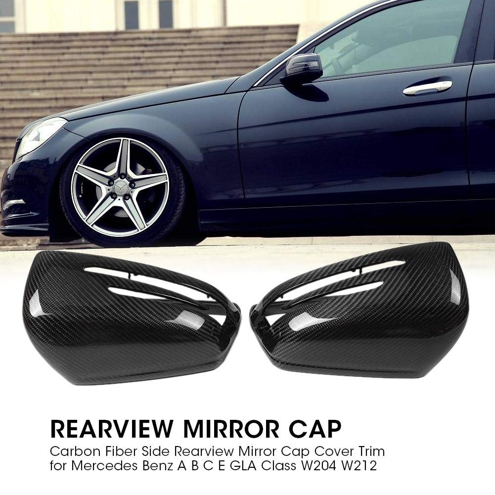 Hlyjoon 2Pcs Car Rearview Mirror Protective Cover Left and Right Black Carbon Fiber Style Auto Exterior Side Rear View Mirror Protector Frame Caps Trim for MB A B C E GLA Class W204 W212 2010-2015