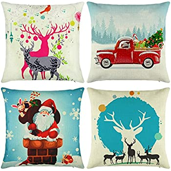 elyhome christmas pillow covers 18x18 set of 4 cotton linen burlap throw pillows decorative square cushion - Christmas Decorative Pillow Covers