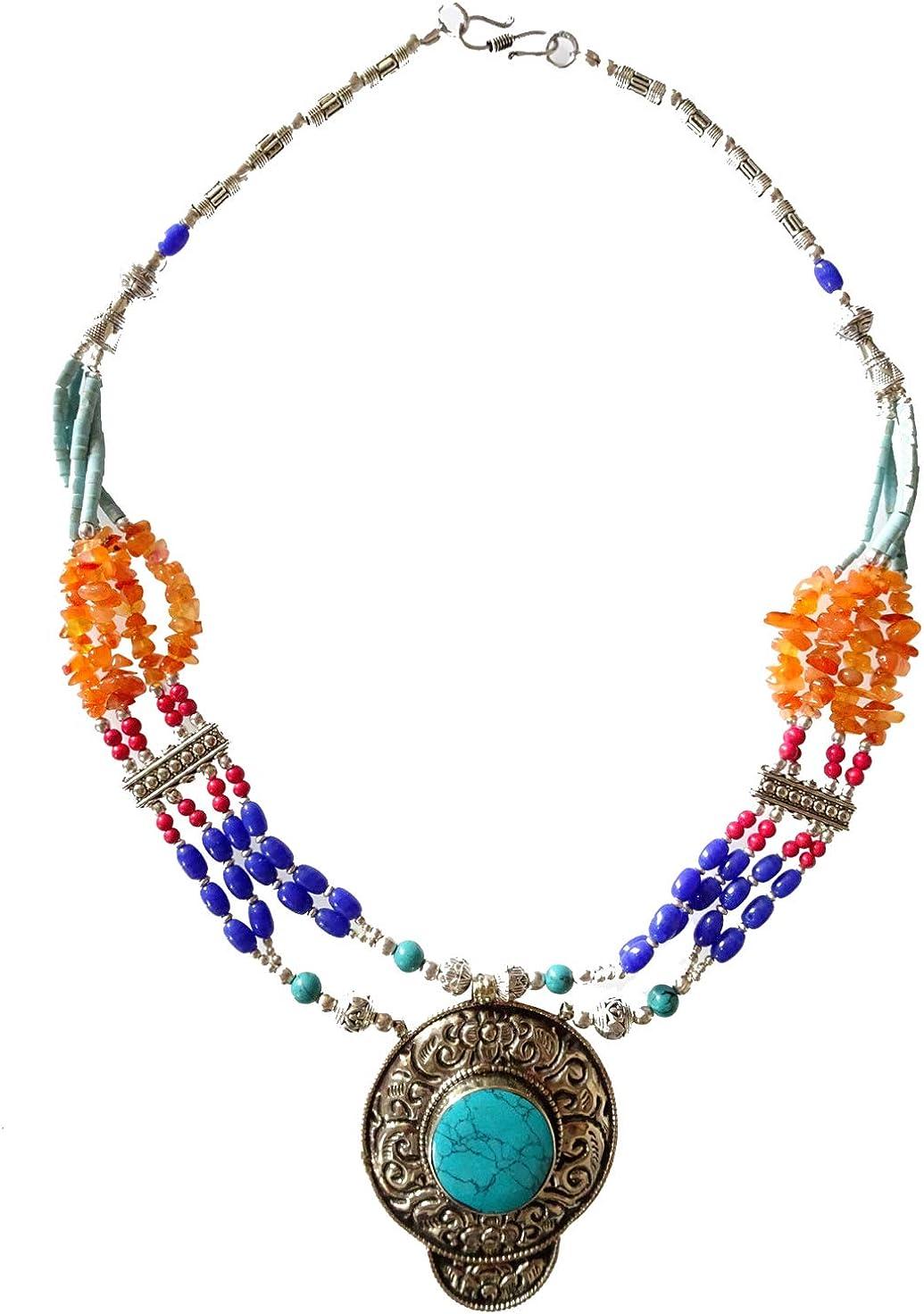 Collar de moda con piedras preciosas de ámbar, coral, lapislázuli y turquesa para mujer niña hecho a mano, étnico, tribal, largo, colgante, multa, budista, boho, gargantilla, collar tibetano