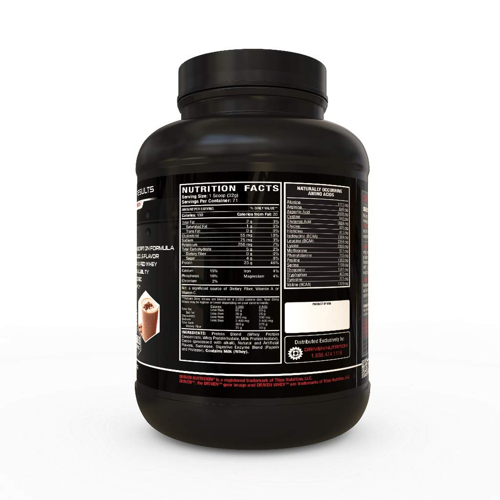 DRIVEN WHEY- Grass Fed Whey Protein Powder Delicious, Clean Protein Shake- Improve Muscle Recovery with 23 grams of protein with added BCAA and Digestive Enzymes Chocolate Milkshake, 5 lb