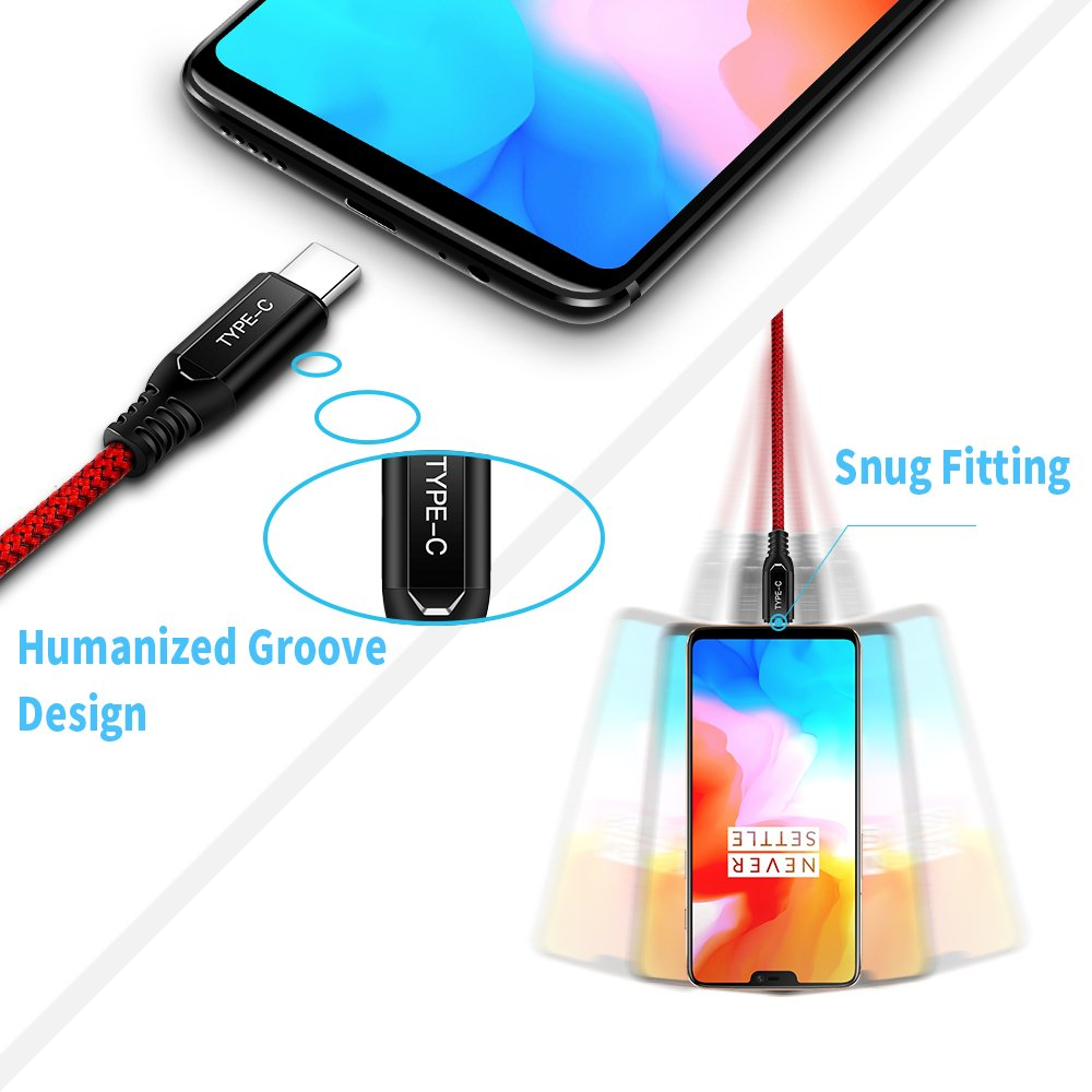 Dash Charger Cable, TITACUTE for OnePlus 6 Charging Cable 2 Pack Durable Nylon Braided Fast Charge Type-C Cable 6.6FT Data Sync Charging Rapidly for ...