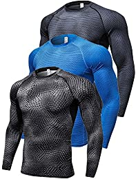 Men's 3 Pack Compression Shirts Long Sleeve Thermal Baselayer Coldgeat Running Shirts