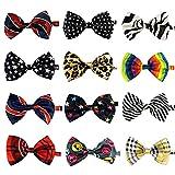 LilMents 12 Pack Boys Mixed Designs Adjustable Pre Tied Bow Necktie Tie Set (Set E)