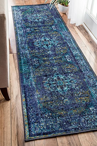 """nuLOOM Reiko Vintage Persian Runner Rug, 2' 6"""" x 8' 6"""", Blue, 6"""" 6"""" - Made in Egypt PREMIUM MATERIAL: Crafted of durable synthetic fibers, it has soft texture and is easy to clean SLEEK LOOK: Doesn't obstruct doorways and brings elegance to any space - runner-rugs, entryway-furniture-decor, entryway-laundry-room - 61HGo8 ARML -"""