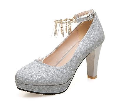 Aisun Damen Fashionable Strass Metall Runde Zehen Pumps Mit Knöchelriemchen Silber 37 EU H0mlOoZp
