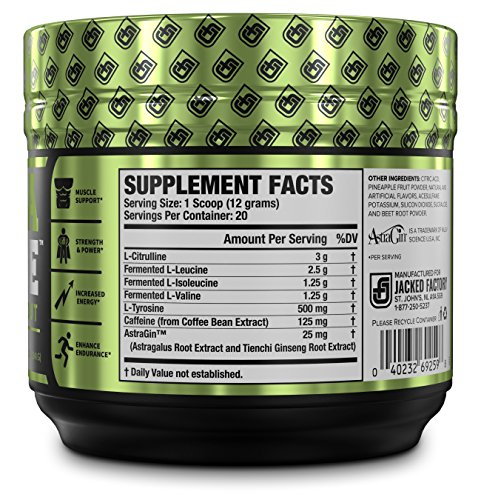 INTRASURGE Intra Workout Energy BCAA Powder – Fermented BCAA Amino Acids, Natural Caffeine, L-Citrulline, and More for Muscle Building, Strength, Pumps, Endurance, Recovery – Fruit Punch, 20sv
