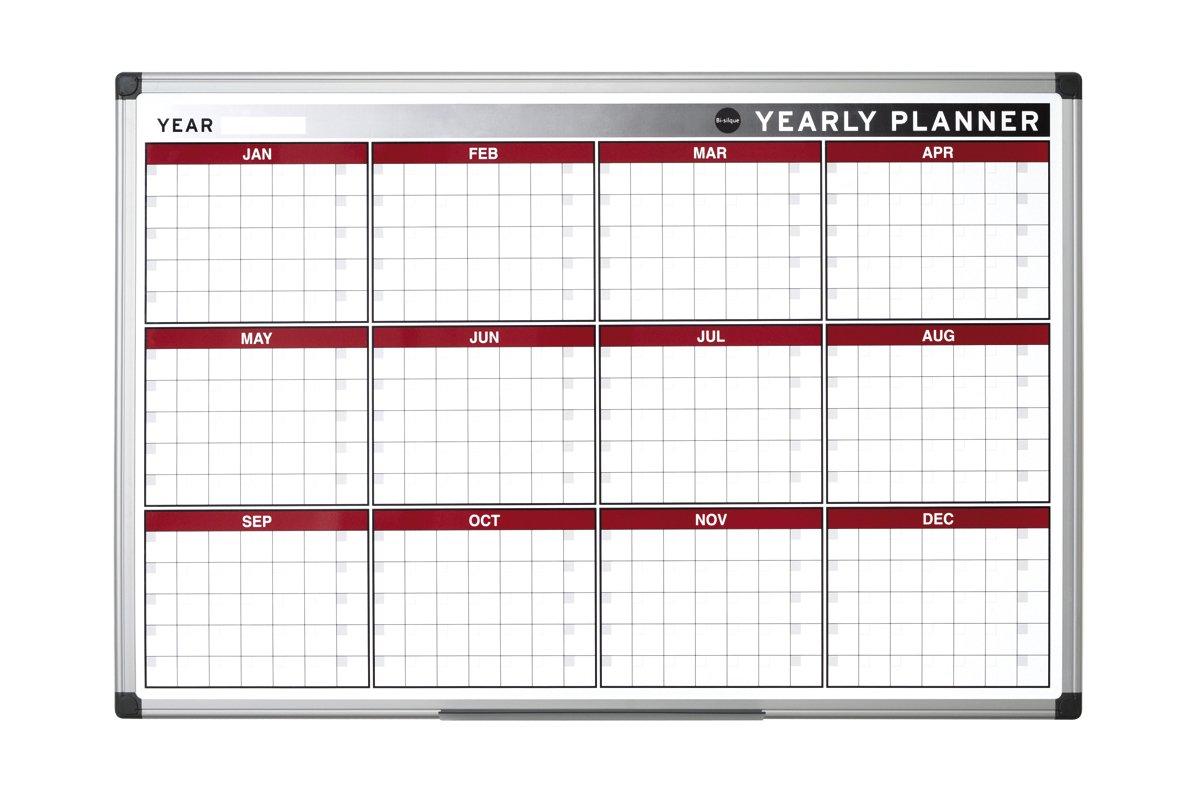 Bi-Office 90 x 60 cm, con chiusura magnetica per planning annuale, 12 mesi Bi-Office 90 x 60 cm Bi-Silque GA0375170