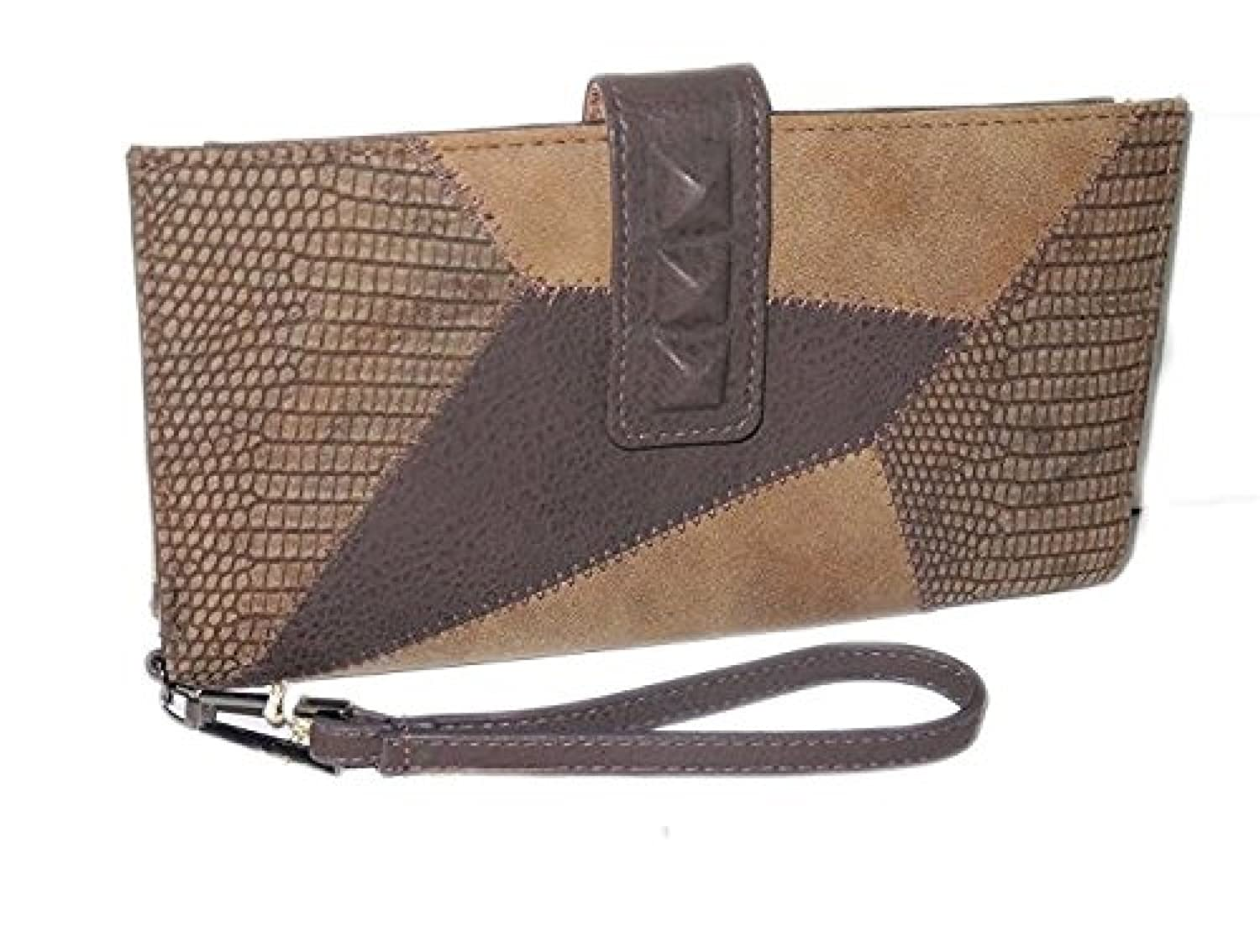 Jessica Simpson Brown Truffle Leather Large Wristlet Wallet