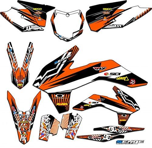 Body Graphic Kit - Senge Graphics kit compatible with KTM 2016-2018 SXF, Mayhem Orange Graphics Kit