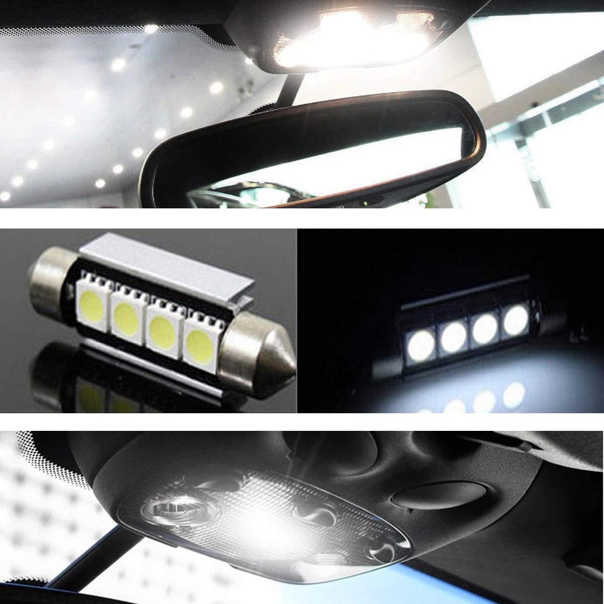 20PCS Interior LED Festoon Dome Lights Kit 6000K White Canbus FREE for Audi A4 S4 B8 Avant 2009-2015