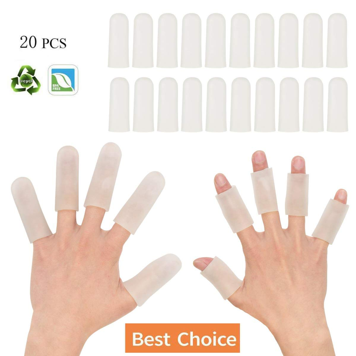 Sporting Style Gel Finger Covers,Silicone Finger Cots,Finger Protector for Women and Men, Great for Trigger Finger, Hand Eczema, Finger Cracking, Finger Arthritis and More(20-Pack) by Sporting Style