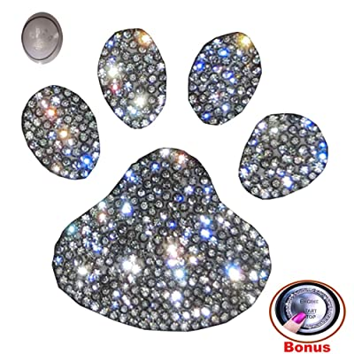 Forala Crystal Car Stickers Decorate Sparkling Cars Bumper Window Laptops Luggage Rhinestone Sticker (Footprint): Automotive
