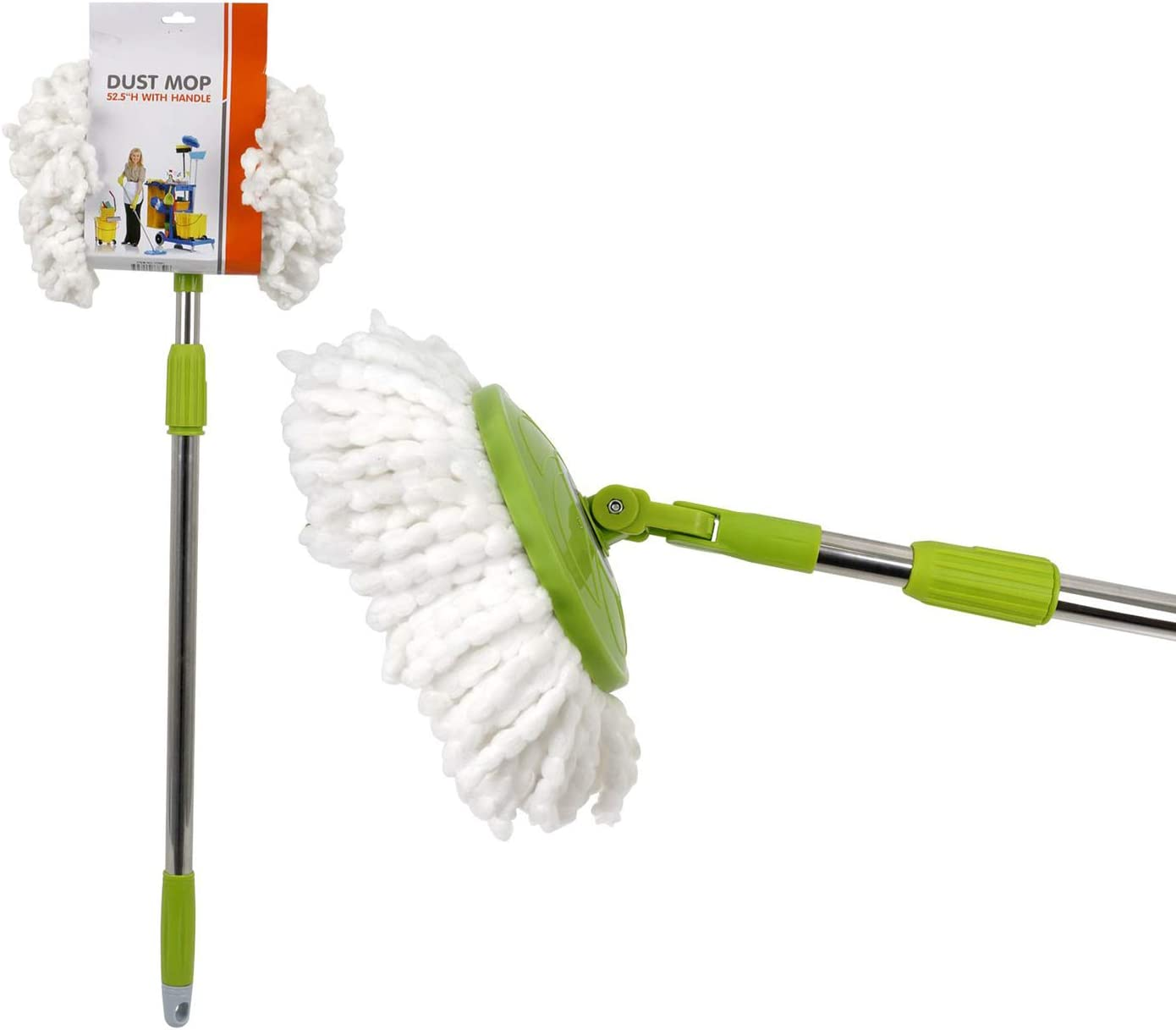 Dust Mop for Cleaning, Microfiber Head | 52.5-inch Mop for Dusting, with Extendable Long Telescopic Handle