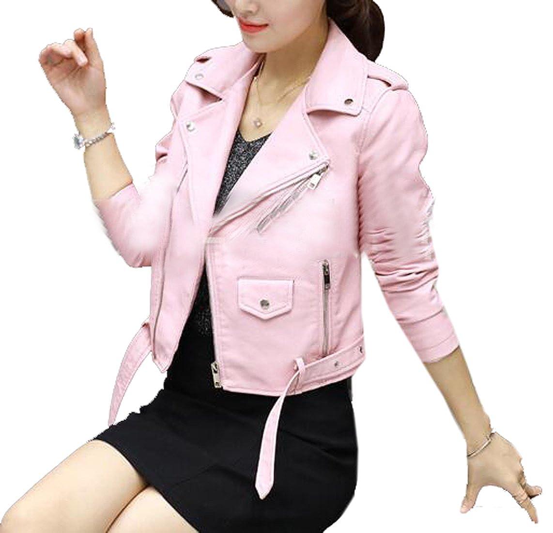 Suncolor8 Women Lapel Casual Zip Front Slim Fit Moto Pu Leather Coat Jacket