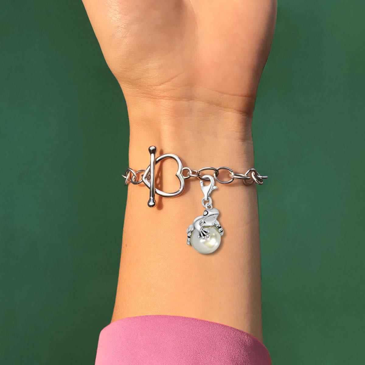 Quiges Charm Pendentif Perle avec Fermoir Femme Argent 925 Grenouille sur Pendentif Perle artificielle 3D
