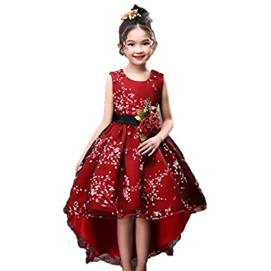 ADHS Flower Girl Special Occasion Tailing Dresses For Age 4 To 11 Years Old