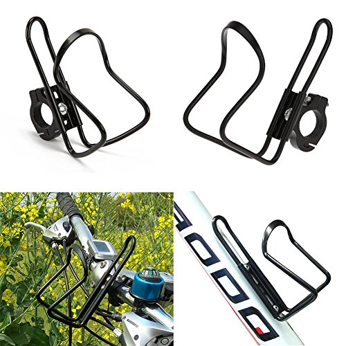 2 pcs Motorcycle Bike Bicycle Black Aluminum Alloy Handlebar Water Drink Bottle Mount Holder Cages with Adapter