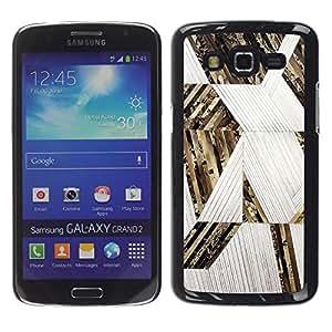 Be Good Phone Accessory // Dura Cáscara cubierta Protectora Caso Carcasa Funda de Protección para Samsung Galaxy Grand 2 SM-G7102 SM-G7105 // Lines Pattern Gold White
