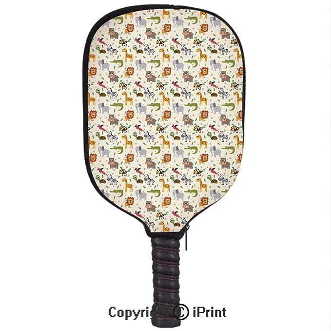 Amazon.com : Smooth And Comfortable Zipper 3D Pickleball Paddle Racket Cover Case, Exotic Giraffe Lion African Zebra Funny Elephant Monkey Crocodile Nursery ...