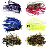 #8: Silicone Jig Skirts DIY Rubber Fishing Jig Lures 12 Bundles 50 Strands Fishing Bait Accessories Spinnerbaits Buzzbaits Spoon Blade Squid Skirt Replacement Part, Fly Tying Material Color random