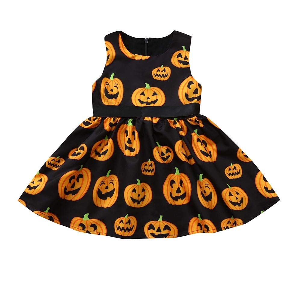 BHYDRY Toddler Halloween Toddler Kids Baby Girl Clothes Cartoon Pumpkin Princess Dress Costume