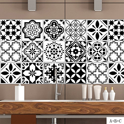 AmazingWall Black and White Tiles Wall Sticker Nordic Style Kitchen Bathroom Decoration Decal Peel and Stick 39.37x7.87 4 Pcs/Set