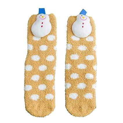CHENQIAN Calcetines De Navidad Hembra Cálidos Gruesos De Coral Hogar Calcetines De Piso para Adultos,