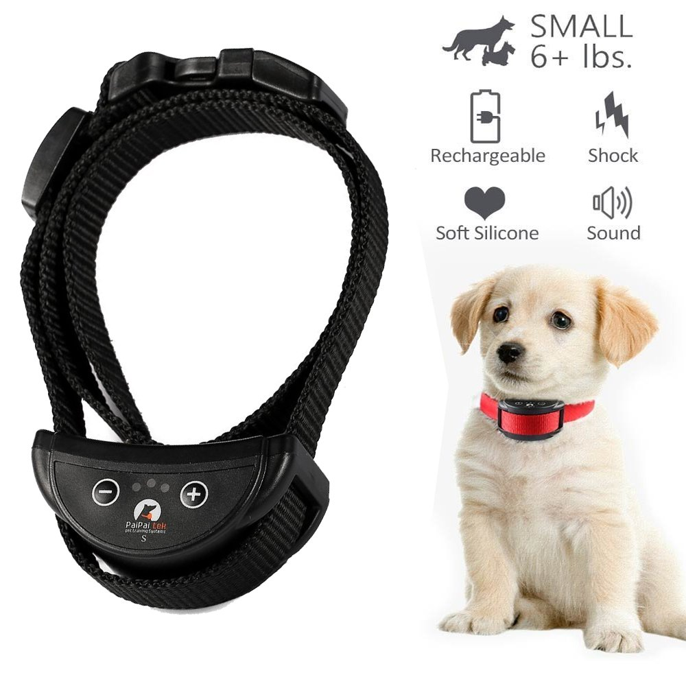 Ovostyle [2018 Upgrade] No Bark Collar - Best Rechargeable Anti-Barking Shock Control 5 Levels Automatic Bark Collar Small Medium Large Dogs Electronic Safe Stop Bark (6+lbs) Black Collar Strap by Ovostyle