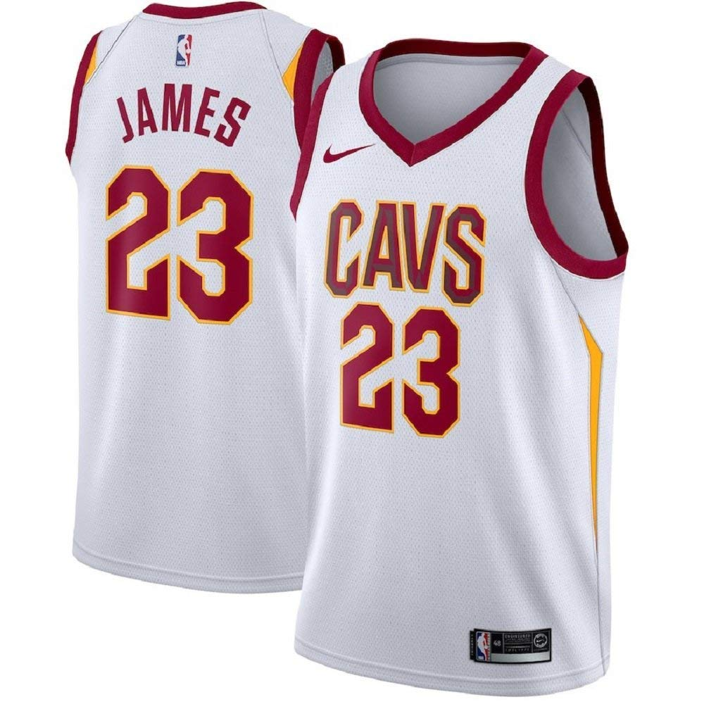 best service ef64a b131f NIKE Lebron James Cleveland Cavaliers NBA Youth White Home Dri-Fit Swingman  Icon Jersey