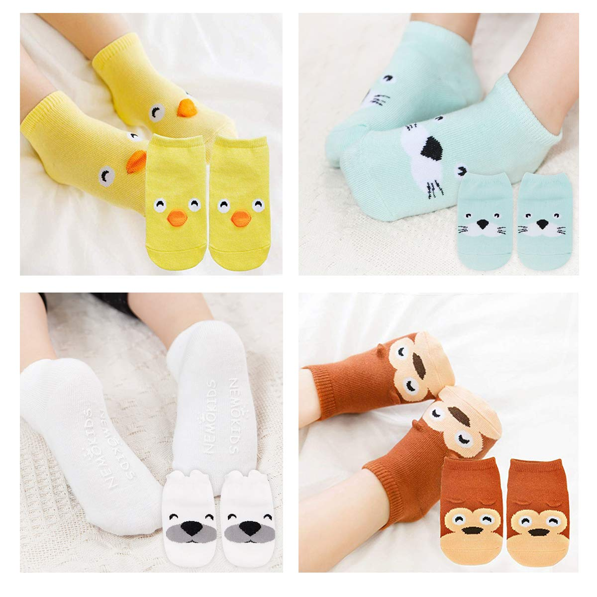 AidShunN Baby Socks Toddler Anti-Slip Cute Cartoon Animal Cotton Unisex Kids Newborn Infant Spring Autumn 4 Pairs,2-4 Years Old,M