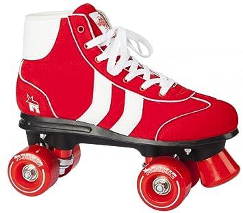 74d3d8aa6df Rookie Retro quad Roller skates Red/White Size 8 UK: Amazon.co.uk: Toys &  Games